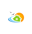 house beach ocean water seagul logo vector image