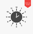 Sun clock icon Summer time concept Flat design vector image