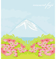Fuji and morning sunrays landscape vector image