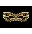Golden carnival mask on black background vector image