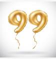 golden number 99 ninety nine metallic balloon vector image