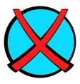 red cross check mark icon cartoon vector image