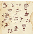 Coffee and pastry sketchy design elements - vector image
