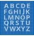 Blueprint alphabet drafting paper letters vector image