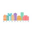 Metropolis building color logo Skyscrapers emblem vector image