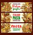 Pasta sketch banner of italian spaghetti macaroni vector image