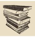 Pile old books vintage drawn sketch vector image