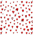 Red Love Heart Padlock Pattern Doodle Background vector image