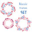 watercolor floral frames set vector image