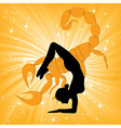Woman in yoga scorpio asana vector image