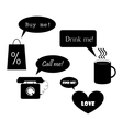 set of objects with speech baloons vector image vector image