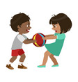 Boy taking away a ball from a girl part of bad vector image