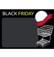 Cart and Banner on Black Friday Background vector image