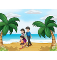 A family walking at the beach vector image vector image