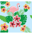 flamingos flower seamless vector image