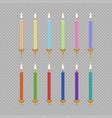 birthday cake candle icon set vector image
