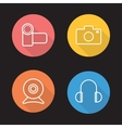 Electronics devices flat linear icons set vector image