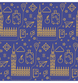 London Seamless Pattern with Big Ben vector image