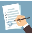 Male hand signing document man writing on paper vector image