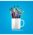 realistic cup with office supplies vector image