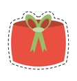red gift box decoration celebration line dotted vector image
