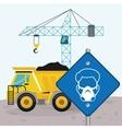 Road sing man mask dump truck and crane vector image