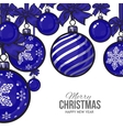 Blue Christmas balls with ribbon and bows vector image