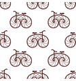 seamless pattern of retro bicycle vector image