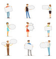 young man and woman standing with blank speech vector image