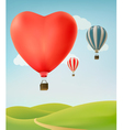 Nature background with colorful air balloons and vector image