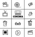 Cinema sign and symbol set vector image