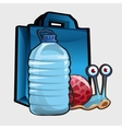 Blue shopping bag large bottle of water and snail vector image