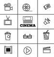 Cinema sign and symbol set vector image