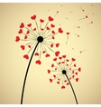 Dandelion with hearts vector image