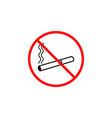 no smoking line icon prohibition sign forbidde vector image