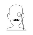 silhouette man portrait wear monocle and mustache vector image