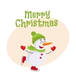 Cute and funny little snowman ice skating happily vector image
