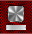 metal steel plates on red perforated background vector image