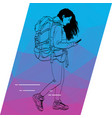 the outline of a girl running and looking to your vector image