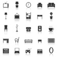 Living room icons with reflect on white background vector image