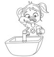 outlined girl brushing teeth vector image vector image