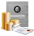 Coins bank vault and financial securities vector image