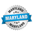 Maryland round silver badge with blue ribbon vector image