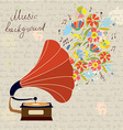 Gramophone and music retro background vector image