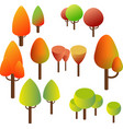 isometric trees bushes summer green and yellow vector image