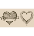 Set of graphic hearts with tree branches and space vector image
