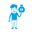 silhouette man with bag cash money in the hand vector image