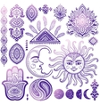Sun moon and ornaments vintage set vector image