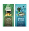 winter fishing 2 vertical banners set vector image