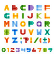 geometric half-transparent square alphabet vector image